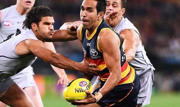 ADELAIDE, AUSTRALIA - MAY 05:  Eddie Betts of the Adelaide Crows under pressure from Sam Petrevski-Seton of the Blues during the round seven AFL match between the Adelaide Crows and the Carlton Blues at Adelaide Oval on May 5, 2018 in Adelaide, Australia.  (Photo by Mark Brake/Getty Images/AFL Media)