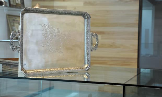 The silver tray presented to Bill Proudfoot, one of Collingwood's greatest champions, on 29 March 1900 sits is proudly on display at the Westpac Centre.