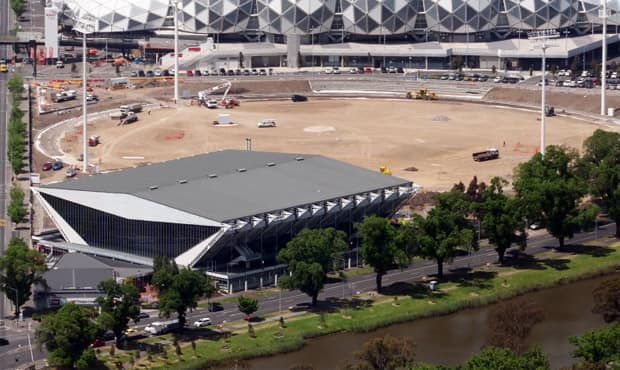 An aerial view of the Westpac Centre and Collingwood's new training oval at Olympic Park. Photo: Brian McGinley.