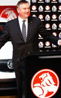 Collingwood President Eddie McGuire addresses those gathered at the announcement of Collingwood's new partnership with Holden on Friday.