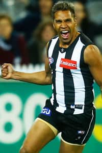 Andrew Krakouer celebrates a goal against Geelong in round eight earlier this season.