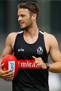 James Aish trains in the Black and White as he prepares to embark on his first season with Collingwood.