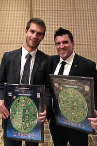 Jordan Kelly and Dale Tapping celebrate their accolades at the JJ Liston Trophy.