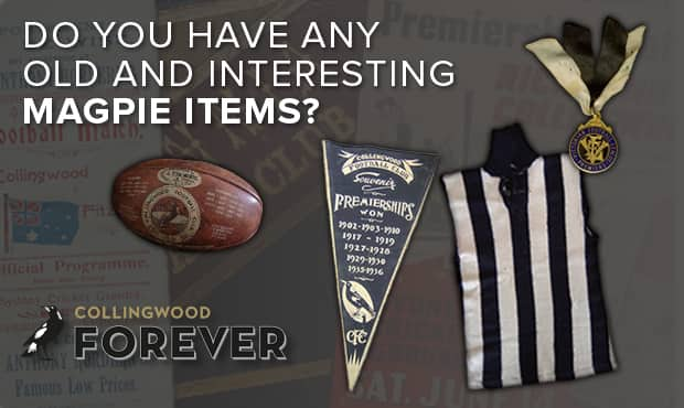 Collingwood's upcoming display in the Holden Centre foyer aims to tell the story of the football club through 125 items, celebrating 125 Years in 125 Objects.
