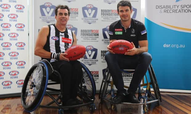 Collingwood's Victorian Wheelchair Football League captain-coach Brendan Stroud and club champion Chris Tarrant helped launch the new VWFL competition at the Holden Centre on Friday morning. Photo: Collingwood Media. - Collingwood,Collingwood Magpies