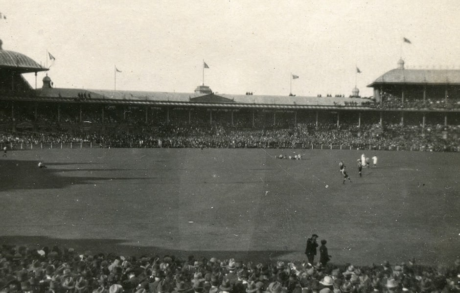 The MCG stands are packed prior to the start of the 1919 Grand Final - Collingwood Magpies,Richmond Tigers