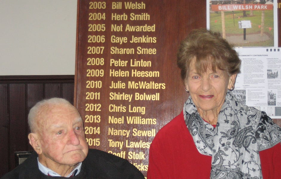 Bill Welsh at the ceremony where a park in Yinnar was named in his honour - Collingwood Magpies