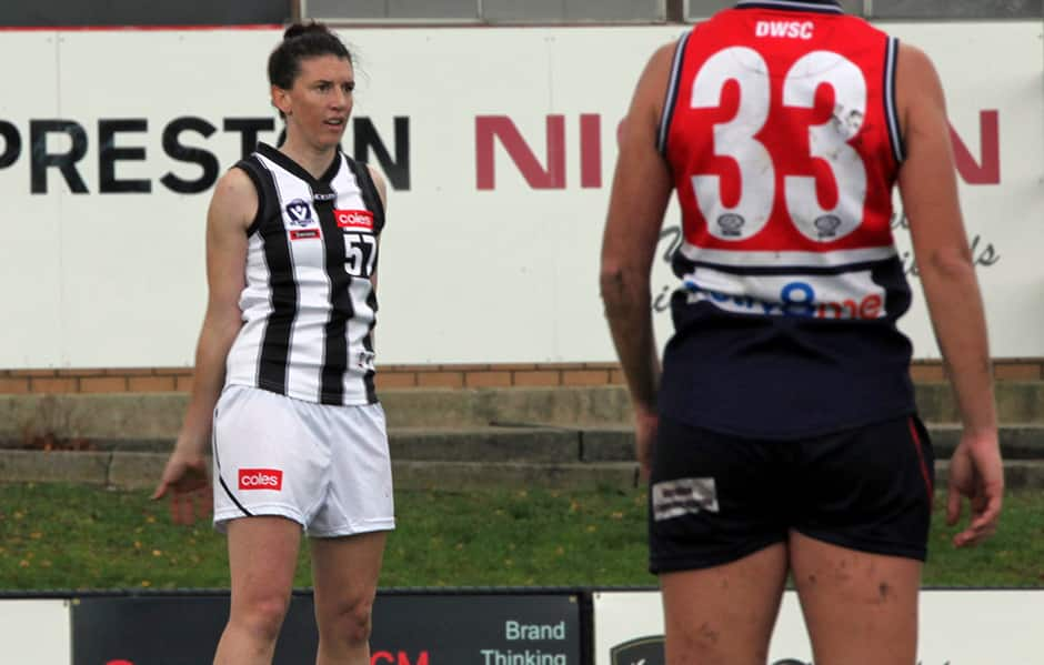 Stacey Lawry made her debut against the Darebin Falcons - Collingwood Magpies