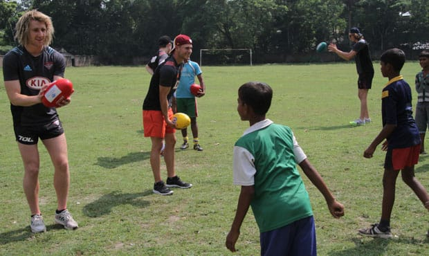 Dyson Heppell, David Zaharakis, Joe Daniher and Zach Merrett travelled to India late last year.