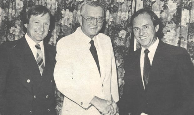 Colin Stubbs (right) pictured with former General Manager Roy McConnell (middle) and Kevin Sheedy in 1980.