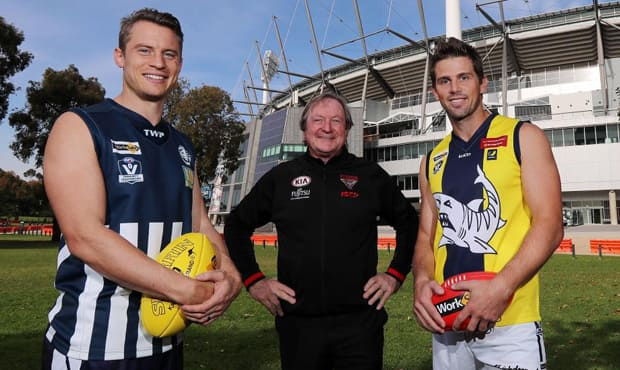 Kevin Sheedy with Jason Davenport (left) of the Geelong Football Netball League and Rikki Johnston (right) of the Mornington Peninsula Nepean Football League. Pic: Michael Klein