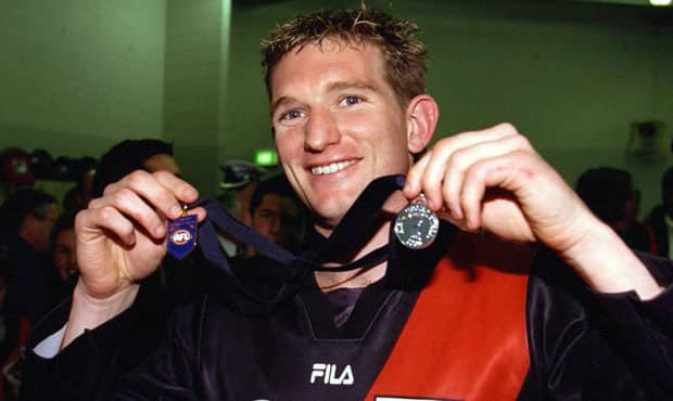 James Hird was presented with the Norm Smith Medal after Essendon's 60 point win in the 2000 Grand Final.
