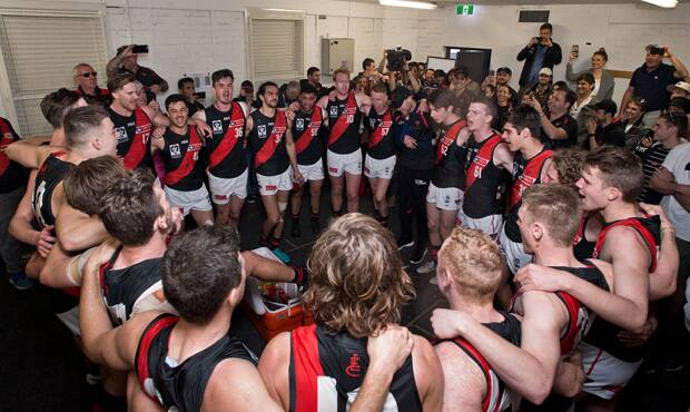 The Bombers sing the song proudly after their thrilling victory over the Tigers.