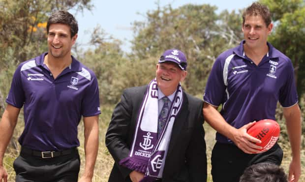 Players Matthew Pavlich and Aaron Sandilands with the Mayor of Cockburn