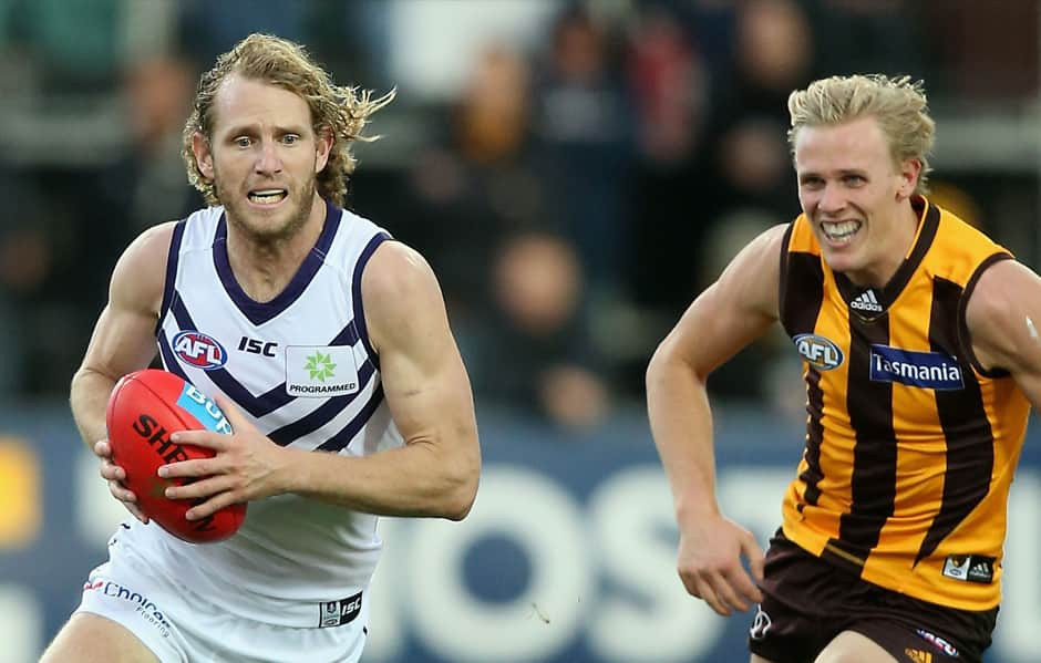 David Mundy had 34 disposals and a goal the last time Fremantle met Hawthorn in round 19 of 2018. - Fremantle,Fremantle Dockers,AFL,Hawthorn,University of Tasmania Stadium,Launceston