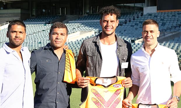 Fremantle players presented with their Nyoongar Team of Champions jumper on Sunday. (Picture: Les Everett) - Michael Johnson,Stephen Hill,Bradley Hill,Jeff Farmer,Fremantle