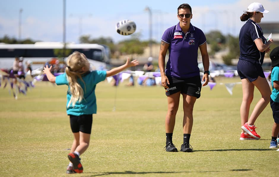 Fremantle defender Evie Gooch at the Freo Fundamentals Gala Day. - Fremantle,Fremantle Dockers