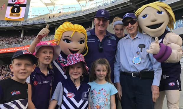 The Lang family at the Freo v Gold Coast game at Optus Stadium. - Fremantle,Fremantle Dockers