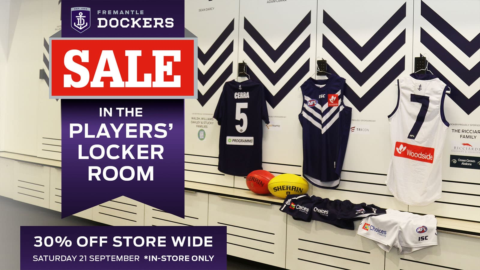Members are invited into the club for the locker room sale on Saturday 21 September - Fremantle,Fremantle Dockers
