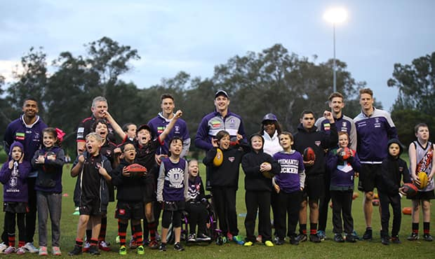Five Fremantle players saw first-hand the impressive work happening in All Abilities football. - Fremantle,Fremantle Dockers