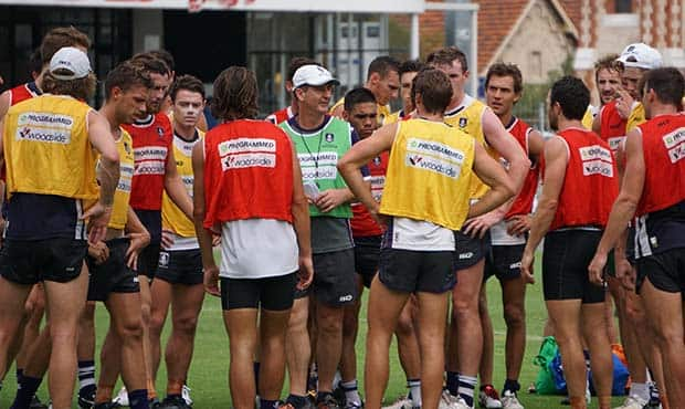 The team trained in stormy conditions on Monday morning at Freo Oval.