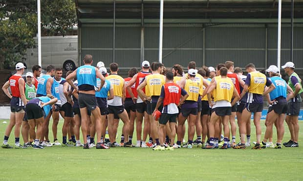 The team trained in overcast conditions at Fremantle Oval on Monday morning.
