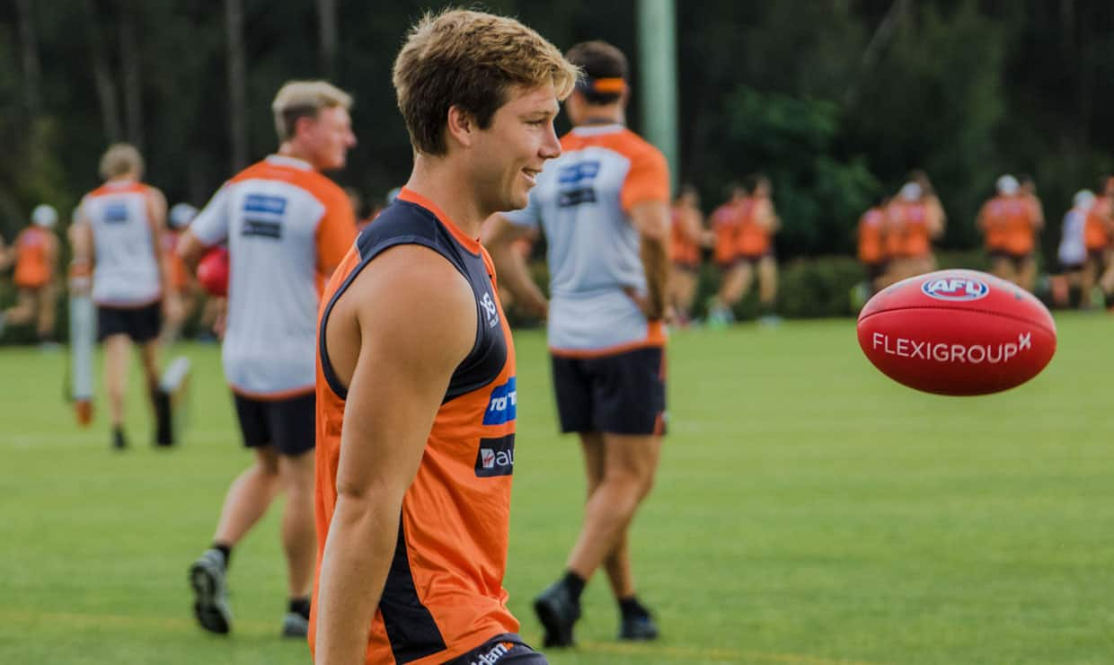 Toby Greene was all smiles at GIANTS training this week. - GWS Giants,AFL,Toby Greene,Brett Deledio,Leon Cameron,Ryan Griffen