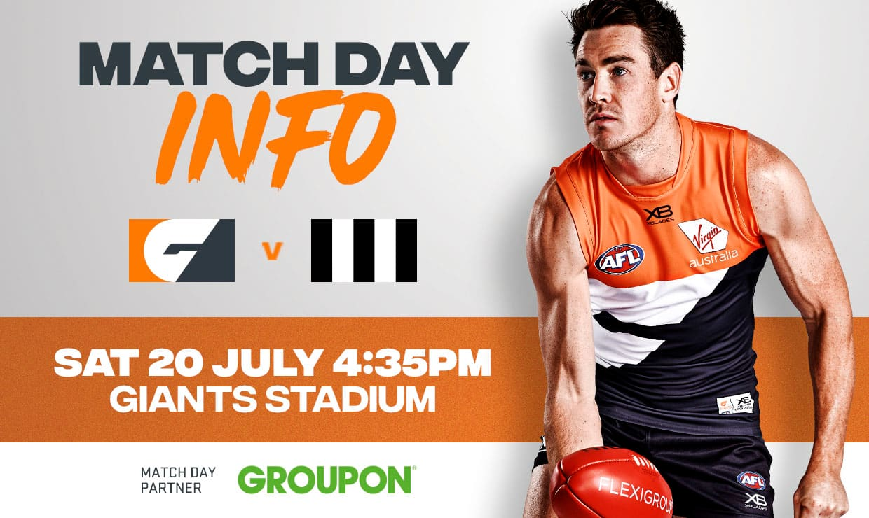 The GIANTS take on Collingwood at GIANTS Stadium on Saturday, July 20 - AFL,GWS Giants,Collingwood,GIANTS Stadium