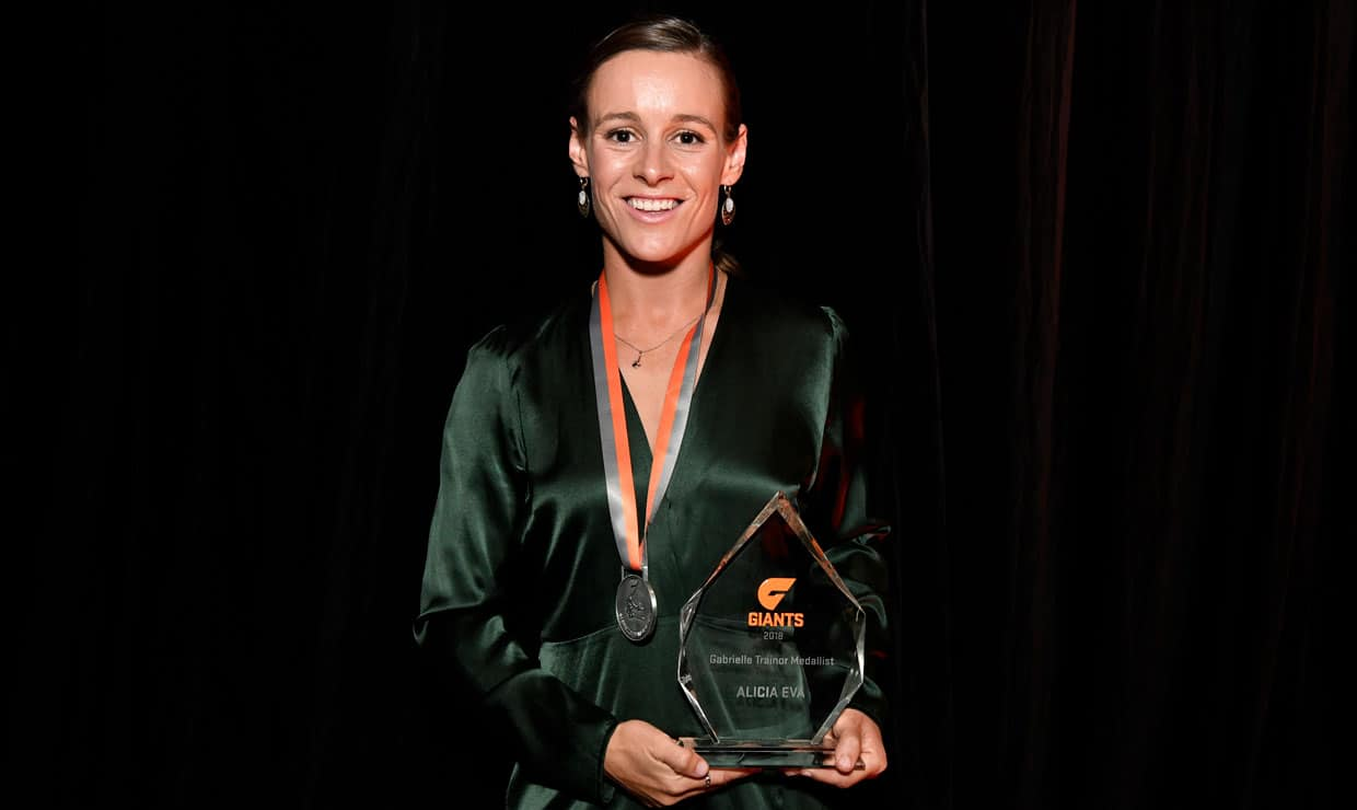 After an exceptional season, vice-captain Alicia Eva has won the 2018 Trainor Medal as the GIANTS' club champion. - Alicia Eva,GWS Giants,AFLW