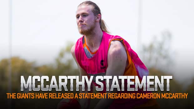 The GIANTS have released the following statement regarding Cameron McCarthy.
