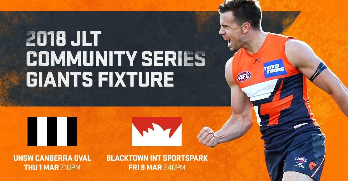 The GIANTS will head to their home grounds at UNSW Canberra Oval and Blacktown International Sportspark in the 2018 pre-season. - GWS Giants,Blacktown International Sportspark,UNSW Canberra Oval