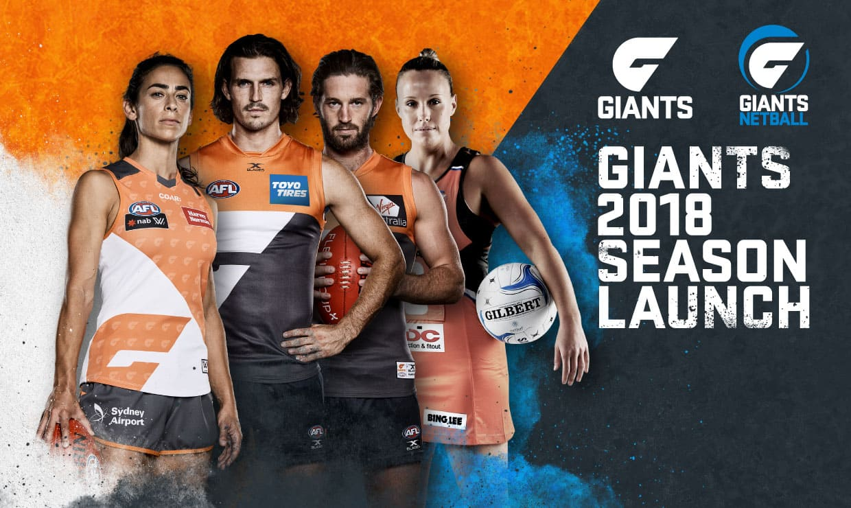 The GIANTS AFLW, AFLW and Netball teams will come together for the 2018 Season Launch later this month. - GWS Giants,AFL,AFLW