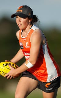 Jodie Hicks in action at pre-season training. - Jodie Hicks,GWS Giants,AFLW