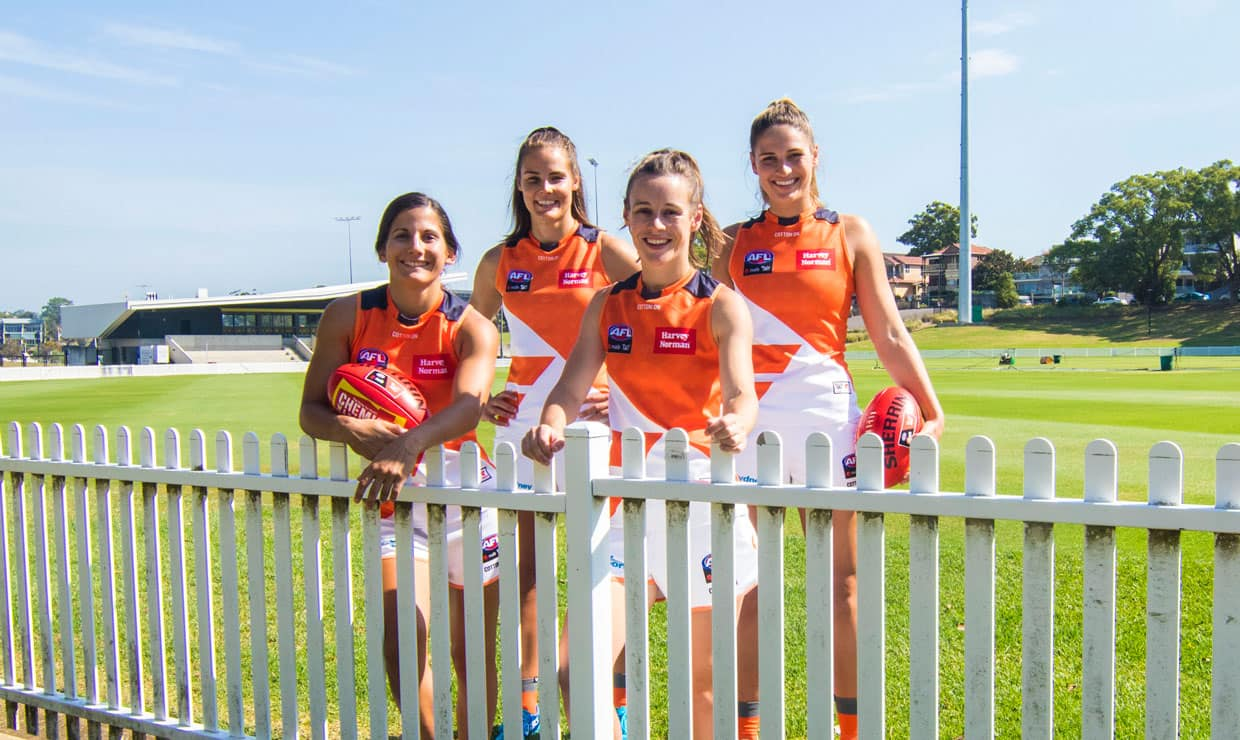 Jess Dal Pos, Maddie Boyd, Alicia Eva and Louise Stephenson at Drummoyne Oval, where they will play for the first time on Friday night. - GWS Giants,Carlton,Carlton Blues,AFLW,AFL,Drummoyne Oval
