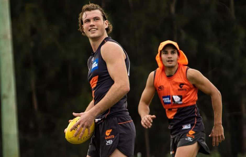 Kieren Briggs (GIANTS) and Mathew Walker (Hawthorn) were two of the GIANTS Academy players to reach AFL lists during the Draft. - GWS Giants