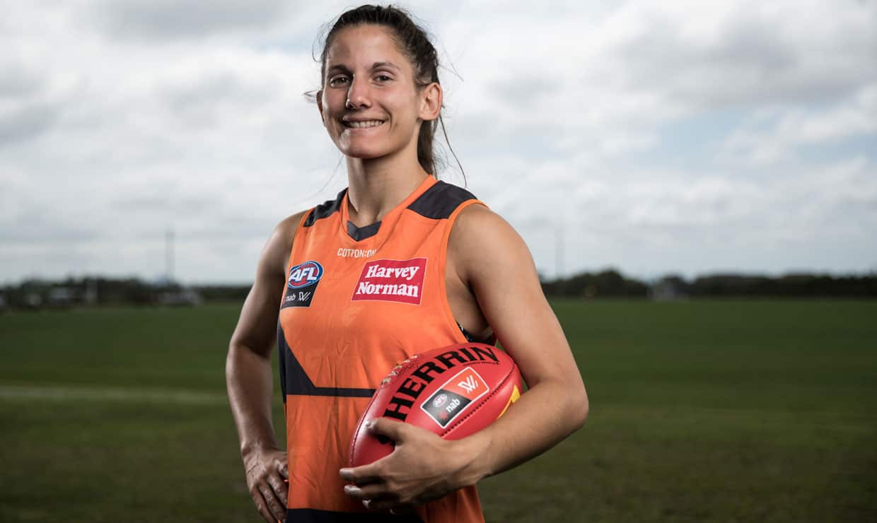 Inaugural Gabrielle Trainor Medallist Jess Dal Pos will play her first VFLW game for the GIANTS on Saturday. - AFLW,Alicia Eva,Jessica Dal Pos
