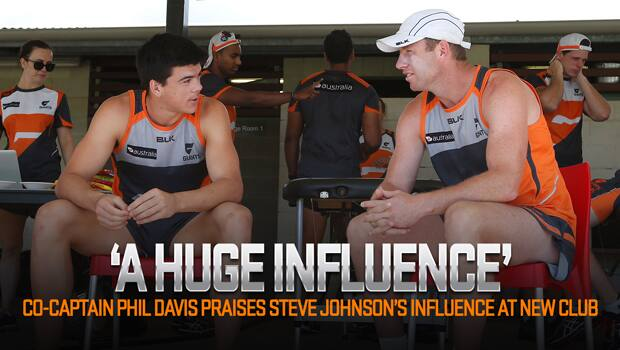 New recruit Steve Johnson chats with young Academy draftee Matt Kennedy.