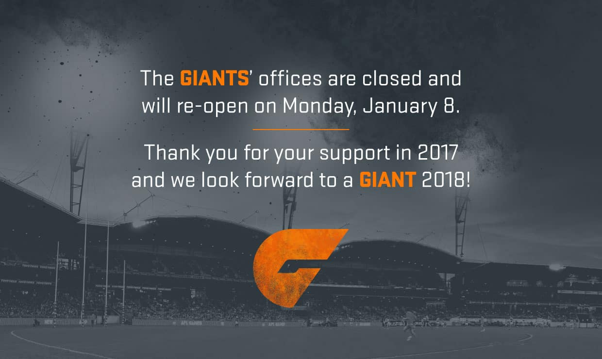 Everyone at the GIANTS thanks you for your support in 2017. - GWS Giants