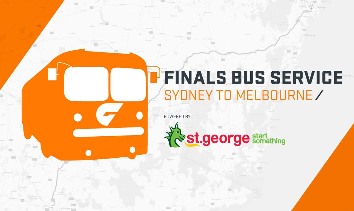 The GIANTS Express bus, powered by St.George, will take supporters from Sydney Olympic Park to the MCG on Saturday. - AFL,GWS Giants