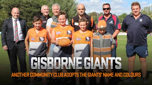 The Gisborne GIANTS celebrate their launch on Monday (Image courtesy of the Midland Express).