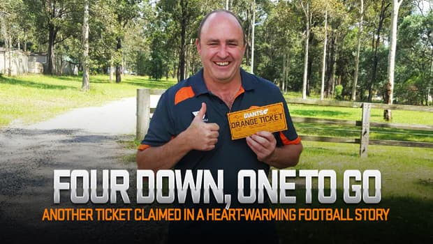 GIANTS Ultimate Member Greg Wright with his Orange Ticket.