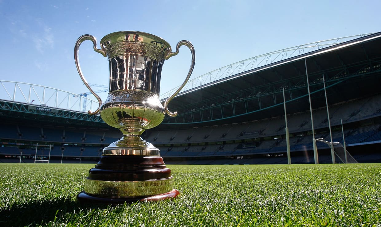 Australia and Ireland will fight for the Cormac McAnallen Cup in the 2017 Virgin Australia International Rules series next month. - Toby Greene,International Rules