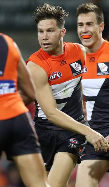 GIANTS forward Toby Greene celebrates one of his three goals against the Swans on Saturday. - GWS Giants,AFL,Toby Greene,Harry Himmelberg,Jacob Hopper