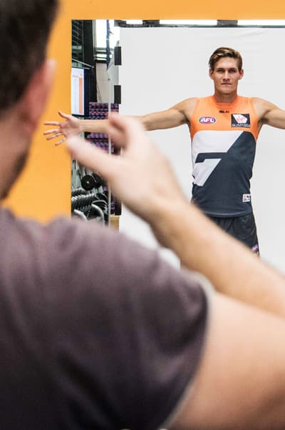 Rory Lobb strikes a pose during team photo day.