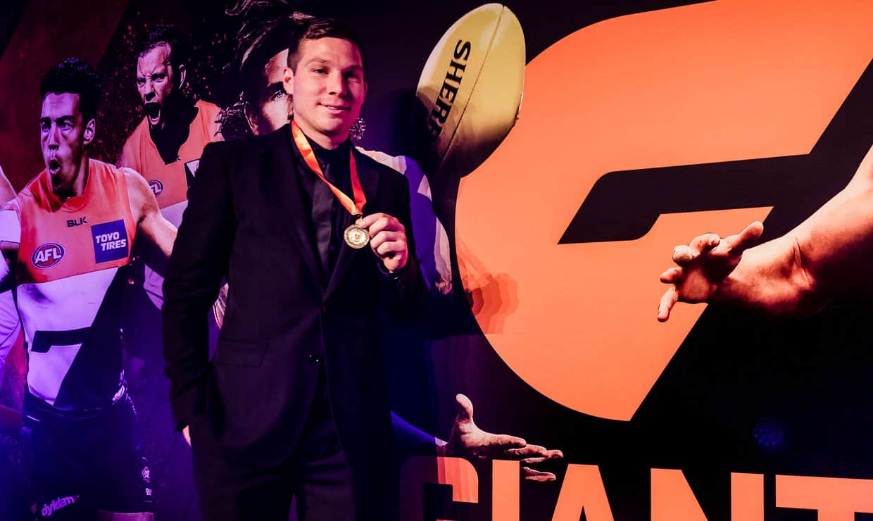 Toby Greene took home the 2016 Sheedy Medal. Watch it live to see who wins it this year via gwsgiants.com.au.