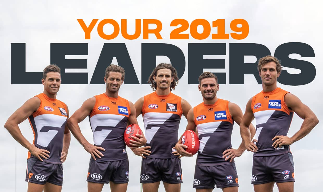 The 2019 GIANTS leadership group (left to right): vice-captain Josh Kelly, co-captain Callan Ward, co-captain Phil Davis, vice-captain Stephen Coniglio and Matt de Boer. - AFL,GWS Giants,Phil Davis,Callan Ward,Stephen Coniglio,Josh Kelly,Matt de Boer