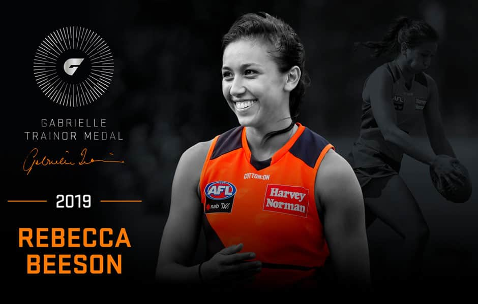 Rebecca Beeson has won the 2019 Gabrielle Trainor Medal, the GIANTS' AFLW club champion. - GWS Giants,AFLW,Rebecca Beeson