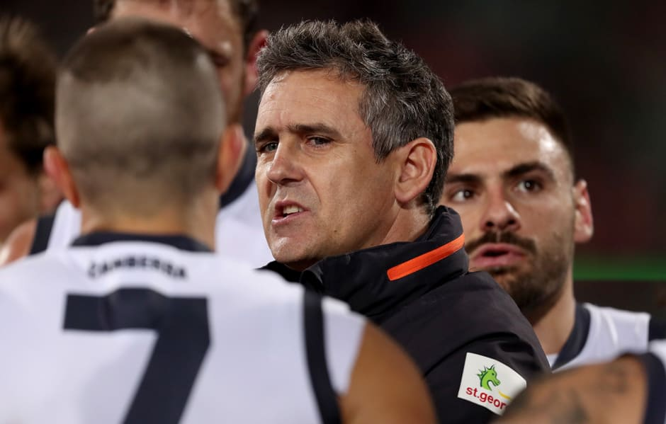 Leon Cameron speaks to his players during the Round 12 clash with the Adelaide Crows. - AFL,GWS Giants,Adelaide Crows,Adelaide Oval,Leon Cameron