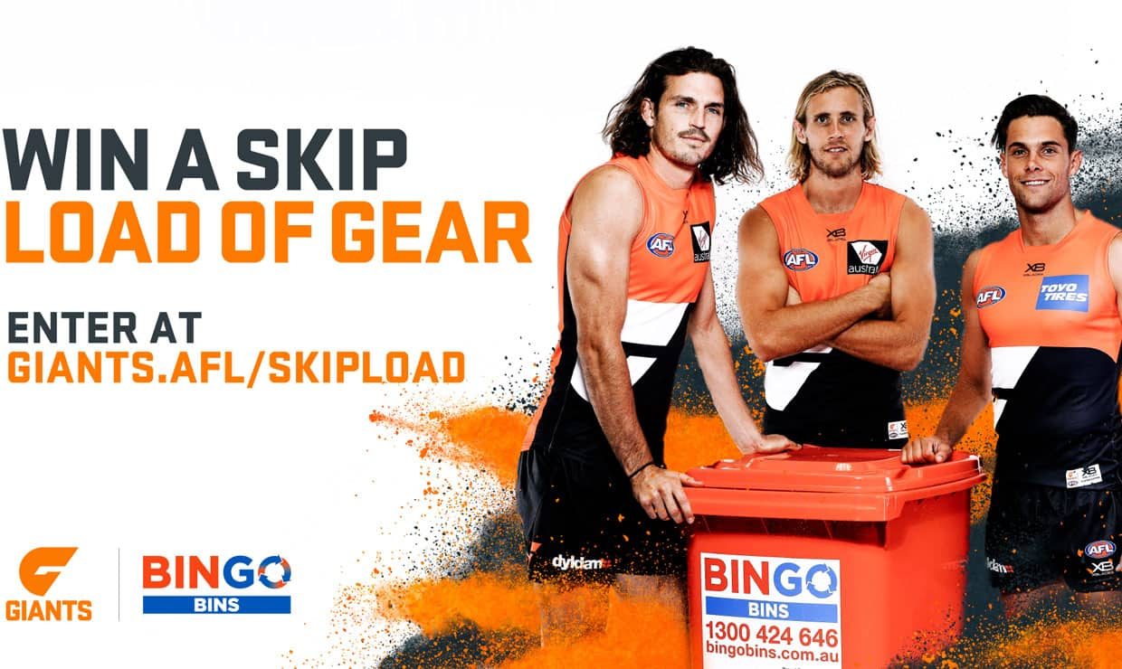 Your team can win a Skip Load of Gear thanks to GIANTS partner Bingo Industries. - GWS Giants