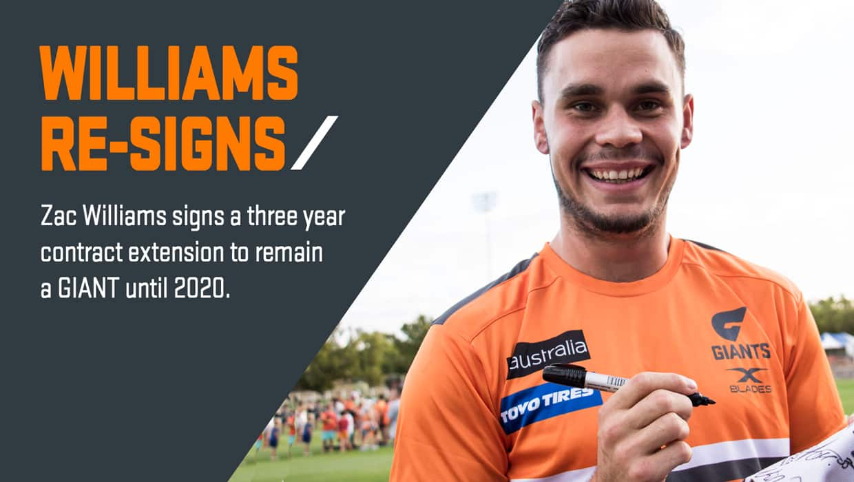 Zac Williams says he feels at home at the GIANTS after signing a three year contract extension.